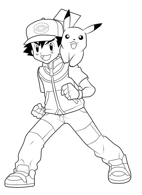 Ash Coloring Pages ash and pikachu coloring pages coloring pages