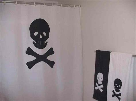 jolly roger shower curtain skull and crossbone shower curtain pirate bathroom