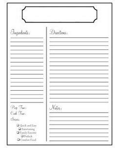 free black and white recipe card template word 7 best images of printable blank recipe templates free