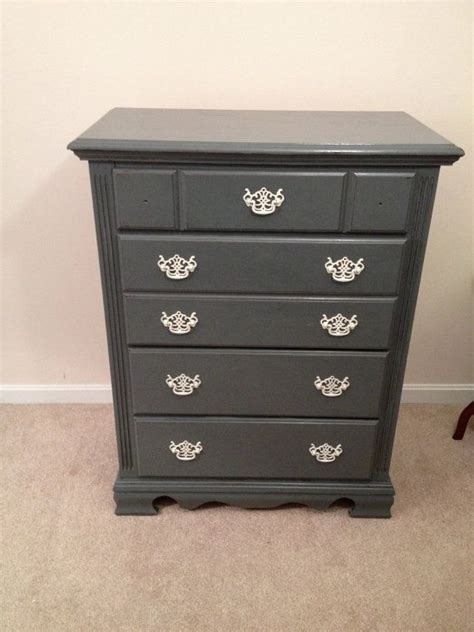 charcoal grey dresser sold chic distressed charcoal grey chalk paint dresser