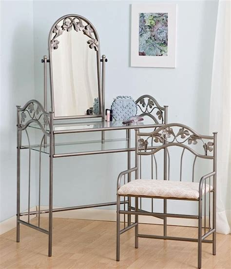 Metal Vanity Sets For Bedrooms bedroom vanity sets 2pc metal vanity table set with mirror
