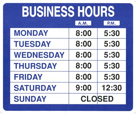business hours template word office hours template template design