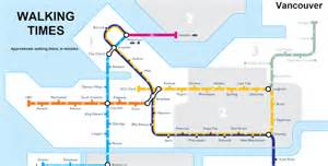Map of walking times between skytrain and b line stations