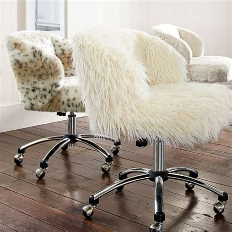 cheap fuzzy desk chairs ivory furlicious wingback desk chair pbteen