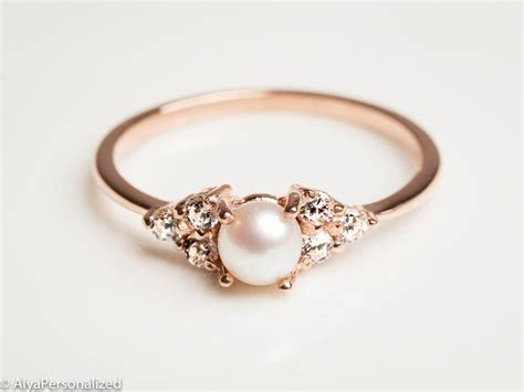 Verlobungsring Rotgold by 14k Gold Engagement Ring Pearl Engagement Ring