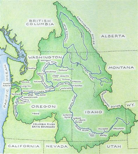columbia river map columbia river basin ethnic history project the river basin
