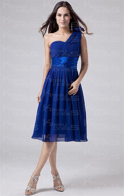 Royal Blue Bridesmaid Dress by Cheap Royal Blue A Line One Shoulder Waist Chiffon