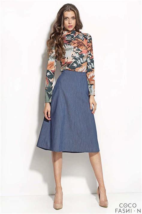 blue denim midi length seam skirt