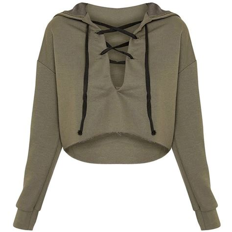 Hoodie Sweater Plagiat Front Logo saige khaki lace up cropped hoodie 110 ars liked on