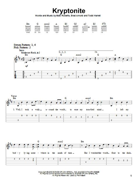 3 Doors Chords kryptonite sheet direct