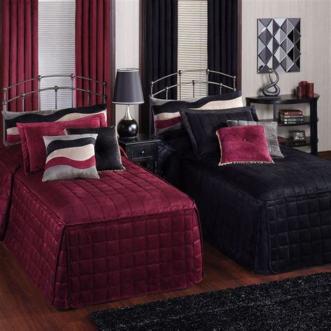 fitted comforter fitted bedspreads black and maroon style double bed