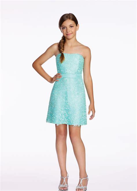 lexie  mon cheri tw mint strapless lace girls dress