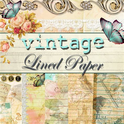 design journal journals vintage lined journal paper pack digital 10 designs