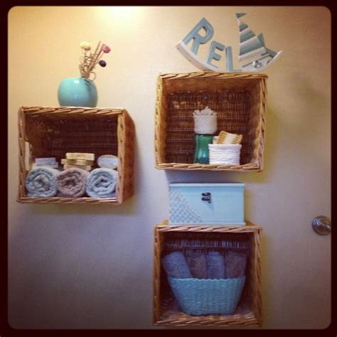 bathroom basket ideas bathroom decor diy shelves from baskets i m not much of