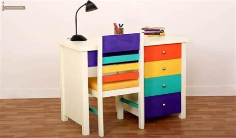 Home Interior Wall Hangings Pixie Kids Study Table With Drawers White Finish