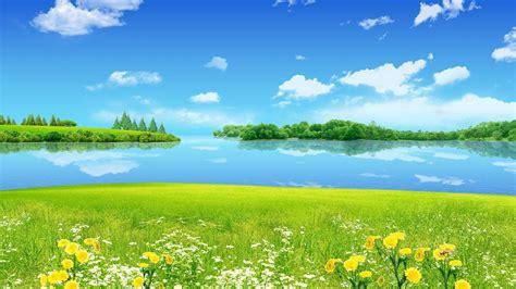 sky river tree grass flower landscape hd wallpaper