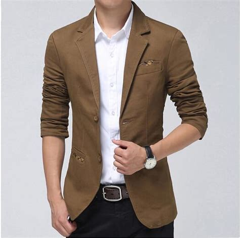 Blazer Jas New Brown Style 2018 casual blazer khaki brown black fashion slim mens blazer suit jacket autumn