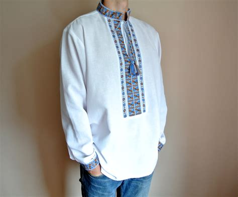 Handmade Mens Shirts - handmade mens vyshyvanka ukrainian shirt embroidered shirt
