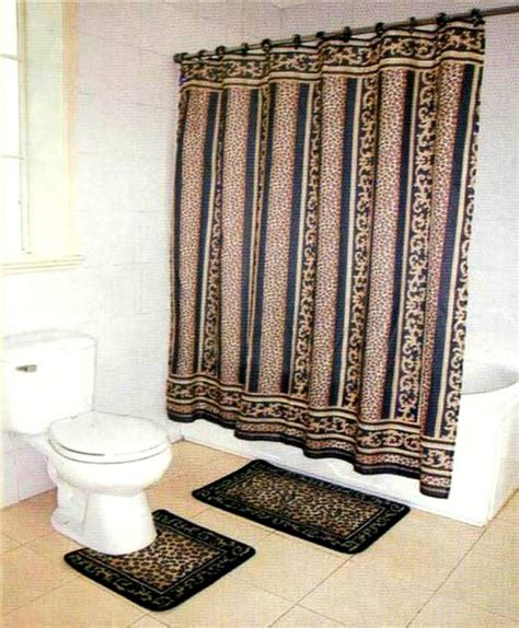 leopard bathroom sets brown leopard bathroom rug mat shower curtain rings set ebay