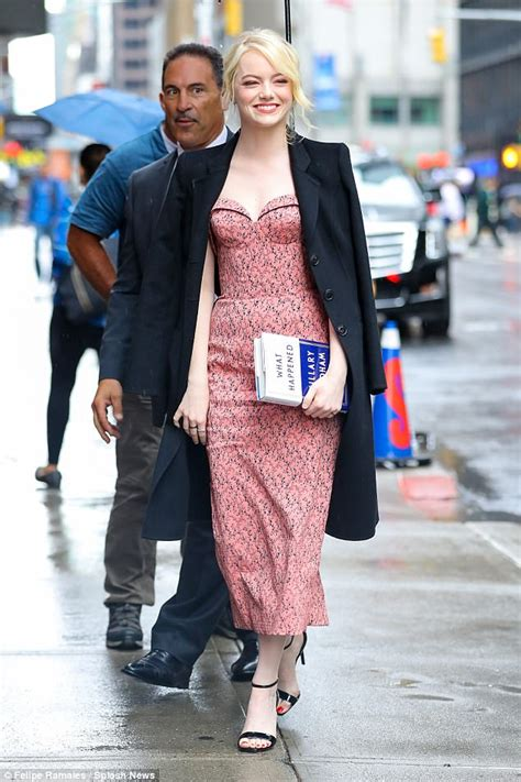 emma stone colbert emma stone is sophisticated chic as she avoids rain in nyc