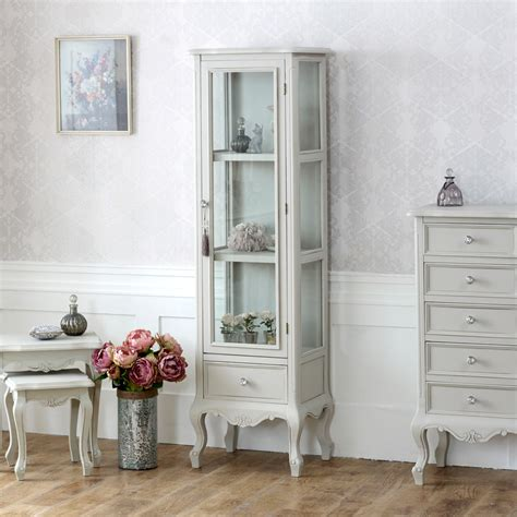 grey wooden ornate glazed display cabinet shabby french