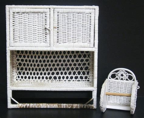 vtg 80s white wicker bathroom wall cabinet towel bar