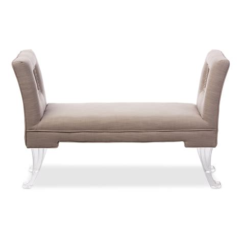 ottoman bench with arms baxton studio bessie modern and contemporary beige linen