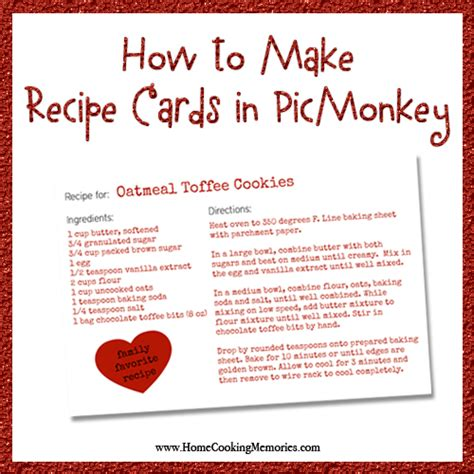 how to make a custom card how to make recipe cards in picmonkey home cooking memories
