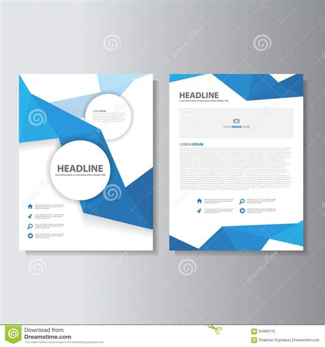 flat layout design blue polygon brochure flyer leaflet abstract layout