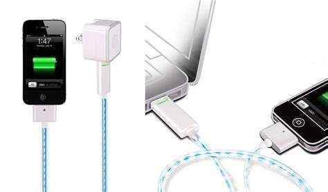 illuminated led iphone charger cable dexim visible green ένας φωτεινά οικολογικός φορτιστής iphone