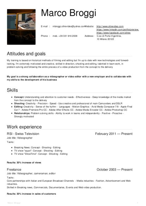 Videographer Resume by Marco Broggi Videographer Resume Oct2015