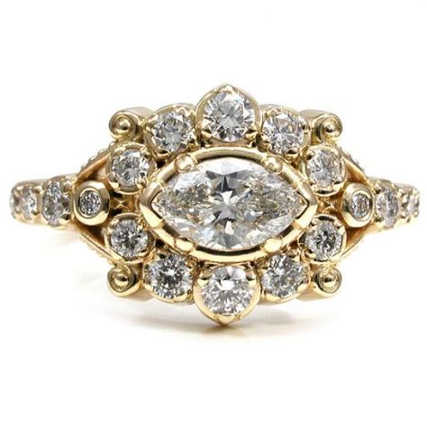 Handmade Gold Engagement Rings - marquise epoque engagement ring