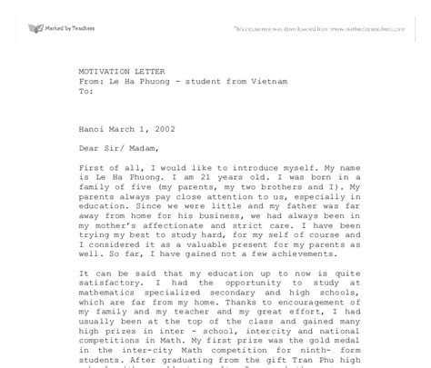 Motivation Letter To Study Abroad motivation letter education and teaching marked by teachers