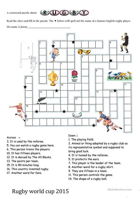 College Letter Earners Crossword Rugby World Cup 2015 Crosswords Worksheet Free Esl Printable Worksheets Made By Teachers
