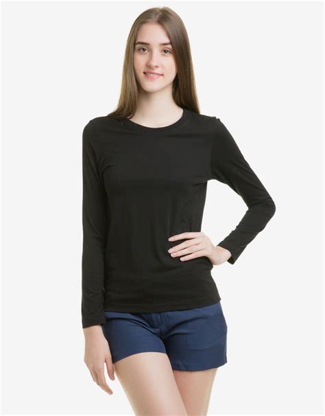 Kaos Wanita Size Ll Warna Grape basic sleeves t shirt hitam mataharimall