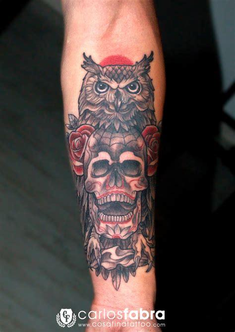 tatuajes de calaveras y rosas tatuaje buho calavera rosas neotradicional neo tradicional