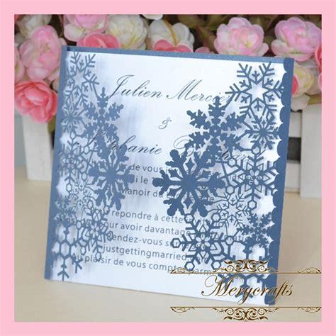 delicate snowflake dark blue paper wedding invitations