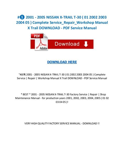 service manual car repair manuals online pdf 2001 ford econoline e250 free book repair manuals 2001 2005 nissan x trail t 30 01 2002 2003 2004 05 complete