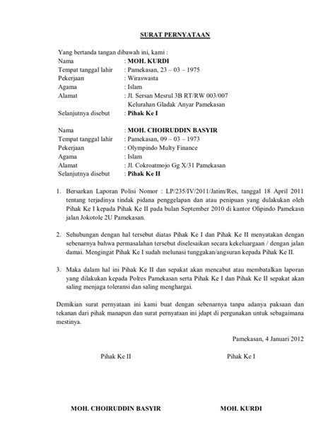 format surat pernyataan damai surat pernyataan