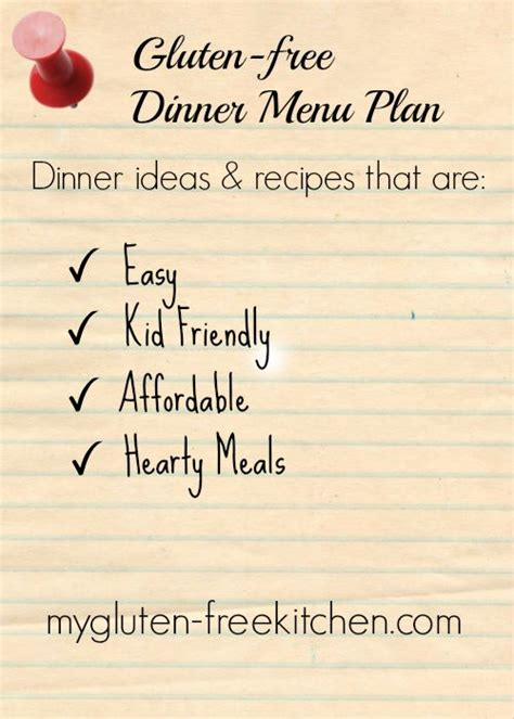 gluten free dinner menu ideas gluten free dinner menu plan 2 ideas for easy family