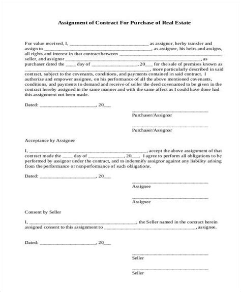 Contract Form Templates Assignment Contract Template