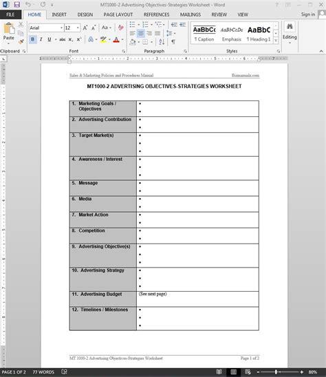 Advertising Objectives Strategies Worksheet Template Worksheet Template