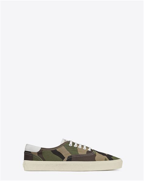 ysl sneaker laurent skate lace up sneaker in khaki camouflage