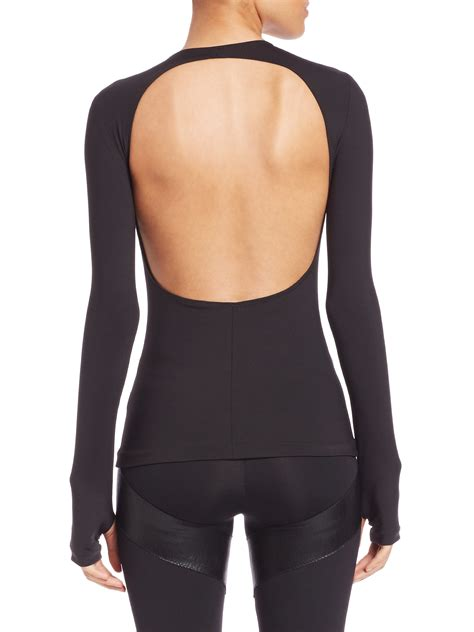 Sleeve Backless Top norma kamali backless sleeve top in black lyst