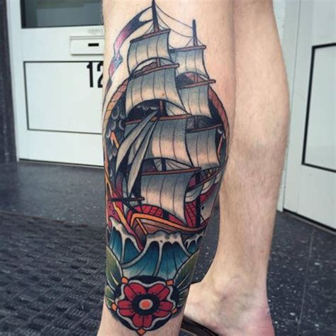 traditional leg tattoos traditional ship tattoos designs ideas and meaning