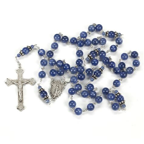 Handcrafted Rosaries - blue kyanite rosary rosaries and chaplets by sue
