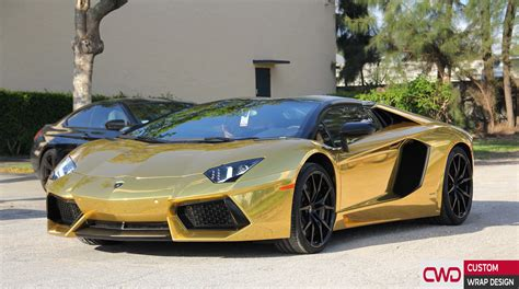 gold chrome lamborghini miami car wrap portfolio