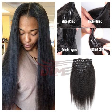 african american hair pieces for thin hair on sides best 7pcs 100g italian coarse yaki clip in hair extensions