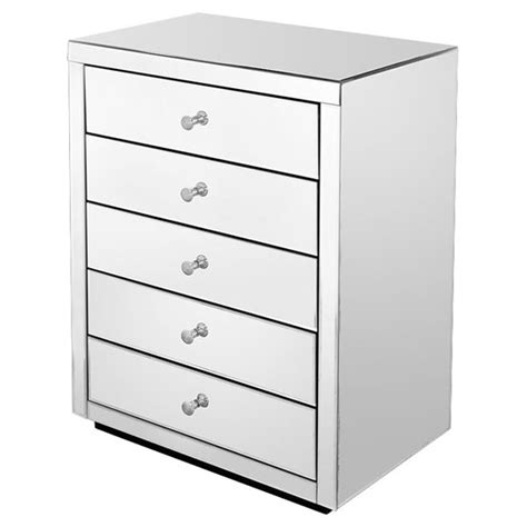 Mirror Chester Drawers by Mirrored Five Drawer Chest Of Drawers Feb Fm425 163 365 75 B E Brands