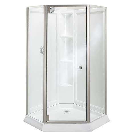 Sterling Neo Angle Shower Door Sterling Solitaire Economy 42 In X 29 7 16 In X 78 1 4 In Neo Angle Corner Shower Kit With